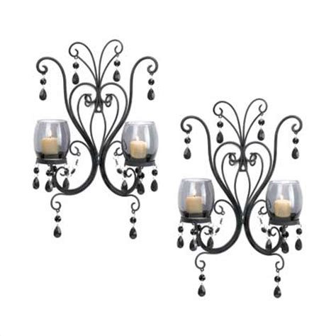 2 black chic chandelier wall sconce shabby candle