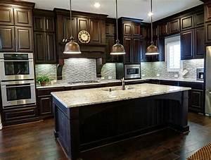 Painting dark wood kitchen cabinets white dark wood for Kitchens with dark wood cabinets