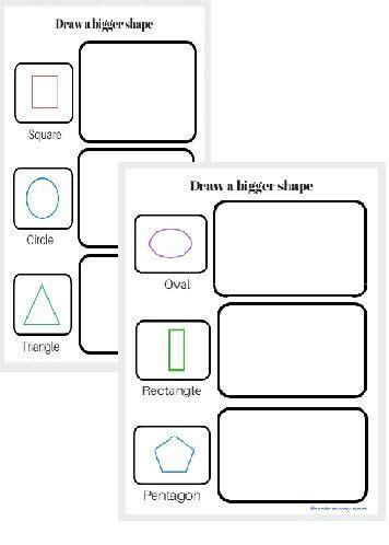 worksheet draw  bigger shape  images worksheets