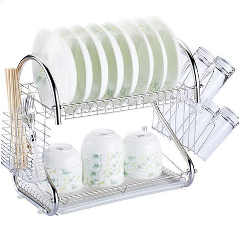 dish drainer rack 2 tier multi function stainless steel dish drying rack cup