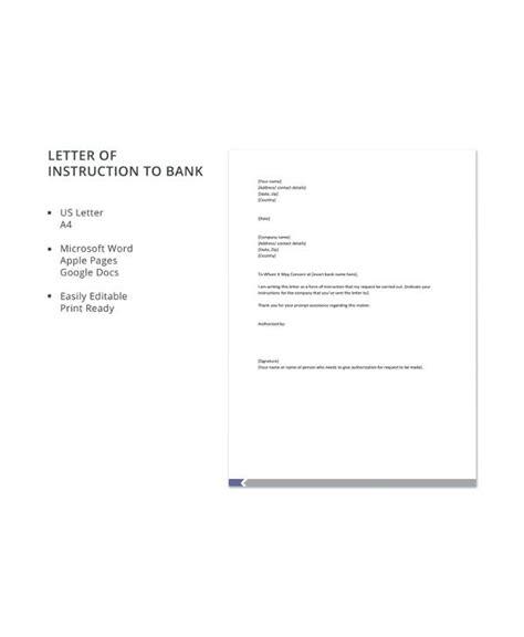 sample letter  instruction templates
