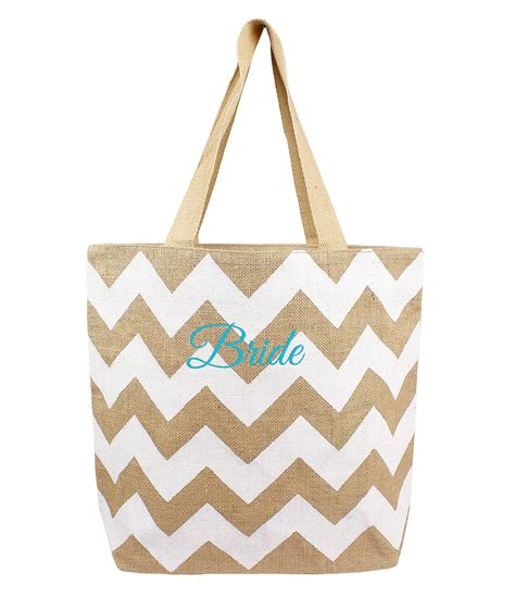 cathys concepts bride embroidered chevron jute tote bag