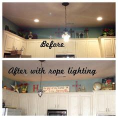rope lights above cabinets in kitchen glass cabinets kitchens and grey on 9254
