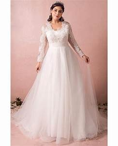 modest long lace sleeve plus size wedding dress tulle With plus size long dresses for weddings