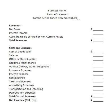 income statement template examples guidelines