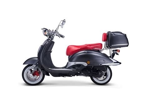 motorroller techno classic retro roller mattschwarz mit roter sitzbank