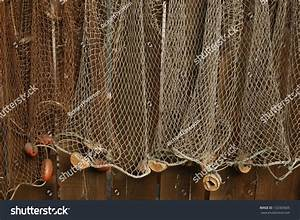 Fishing Net Is Hanging On The Wall Stock Photo 132303605 ...