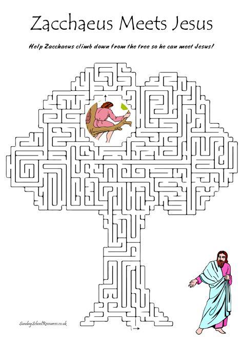 zacchaeus bible maze sunday school activity bible