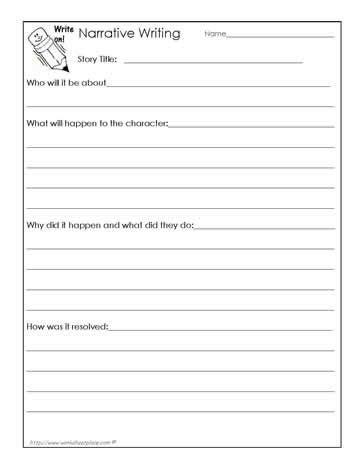 narrative writing outline worksheets narrative writing