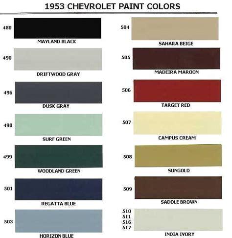 chevy colors 1953 chevrolet colors 1953 classic chevrolet