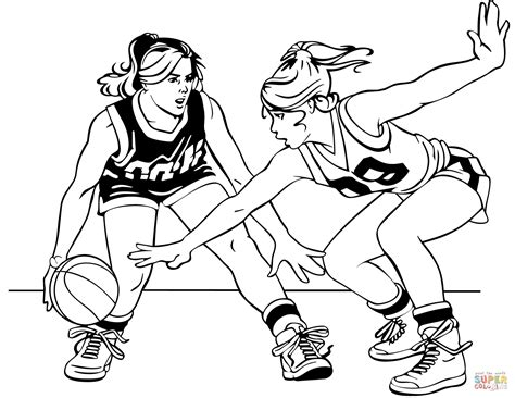 basketball girls coloring page  printable coloring pages