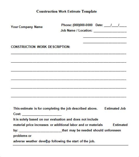 Free Estimate Template Free Construction Estimate Templates Collections