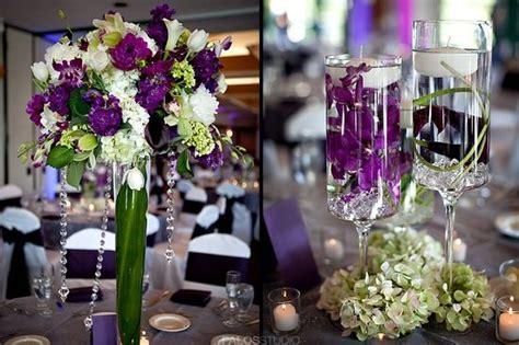 Purple & Green Centerpieces For Wedding Reception