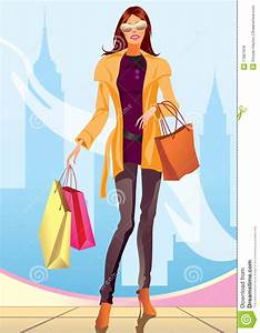 Shopping Girl With Shopping Bag In New York Stock Vector ...