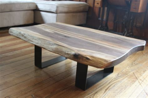 salvaged  edge coffee table black walnut modern design