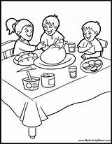 Coloring Table Dinner Pages Thanksgiving Bedroom Eating Dining Drawing Sketch Printable Feast Sheets Printables Template Quilt Popular sketch template
