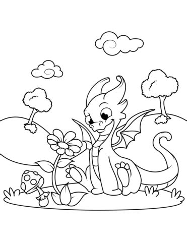 cute dragon sniffing flower coloring page  printable