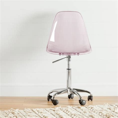 acrylic desk chair south shore annexe clear pink blush acrylic office chair