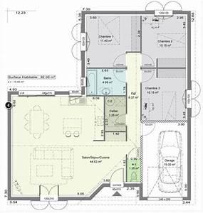 plan maison plain pied 12m de facade With plan d appartement 3d 12 plan maison 110m2 plain pied