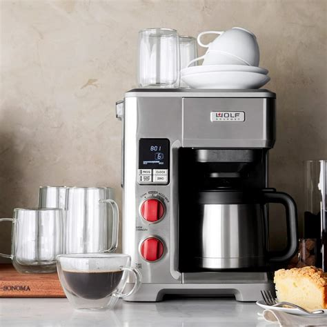 Stop walking up to a coffee shop for your daily coffee fix. Wolf Gourmet Automatic Drip Coffee Maker | Williams Sonoma CA