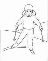 Coloring Pages Skiing Ski Template Christmas Winter Mix Jet Colouring Drawing Coloriage Country Popular Cross Disney Templates Olympics Talvi Cartoons sketch template