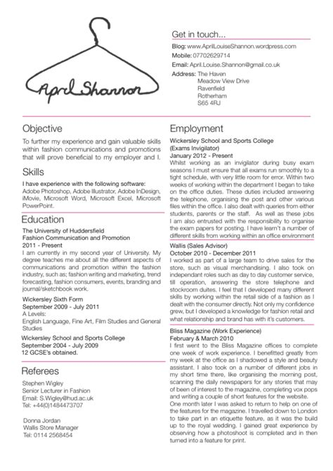 Fashion Resume Templates by The Student Buyer