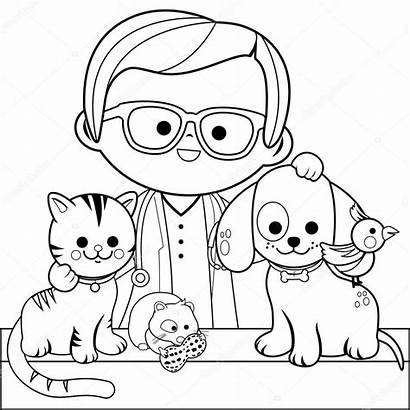 Coloring Pets Veterinarian Depositphotos