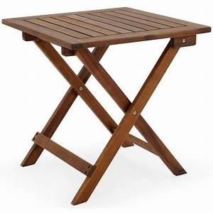 Table Basse Pliable : table basse pliante en bois tables jardin d 39 39 appoint 46x46cm pliable acacia ~ Teatrodelosmanantiales.com Idées de Décoration