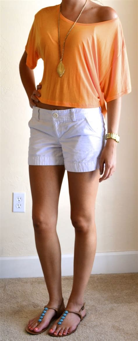 Outfit post orange off should top white shorts