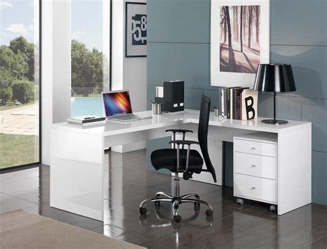 bureau laqué bureau d 39 angle design avec caisson coloris blanc laqué
