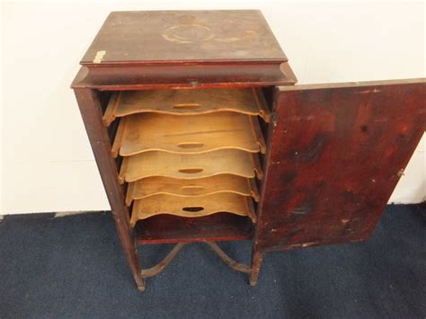 antique record cabinet lot detail antique sheet record cabinet