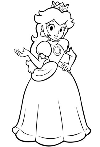 mario bros princess peach coloring page  printable