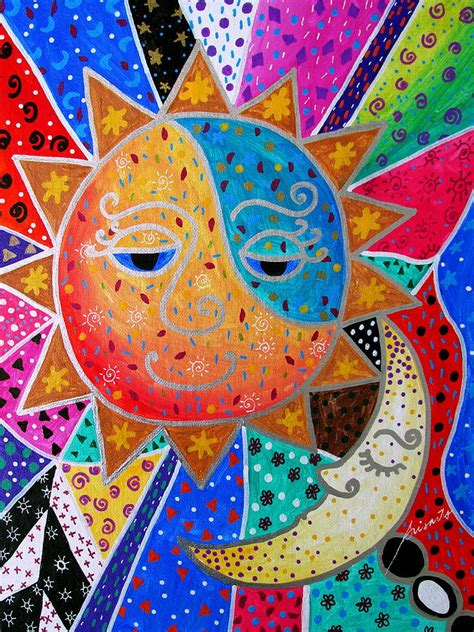 Abstract Sun And Moon Painting by Pristine Cartera Turkus