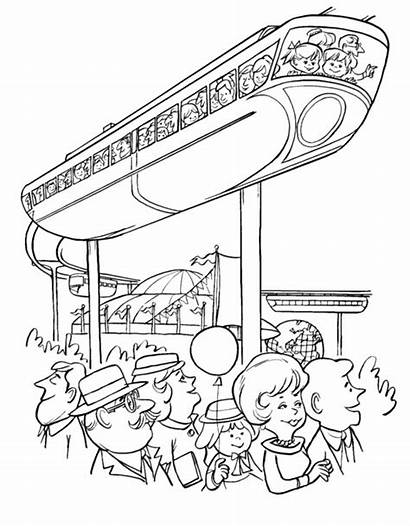 Coloring Train Pages Printable Sky Trains Monorail