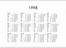 Vintage calendar of year 1998 with all months Stock