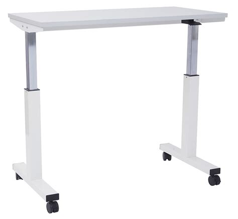 White Mobile Heightadjustable Table  Office Furniture
