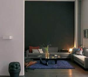 salon couleur taupe et gris tapis bleu canard With tapis peau de vache avec canapé inclinable 2 places