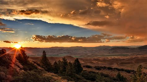 Sunset Clouds Valley Desert Hill Trees Nature