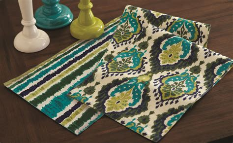72 inch table runner majolica navy teal reversible kitchen dining room table