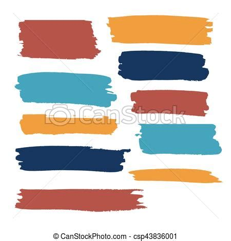 color vector brush strokes of paint white background
