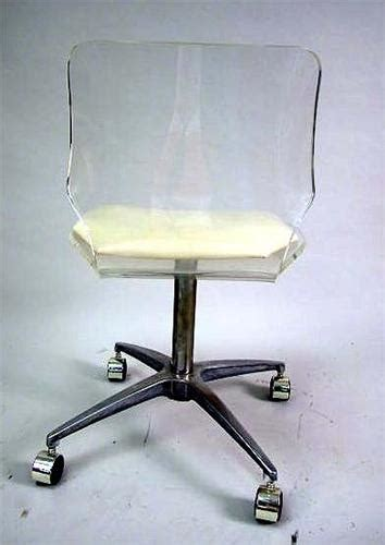Acrylic Desk Chair On Casters by A Lucite Desk Chair With Beige Vinyl Seat And Chrome Base