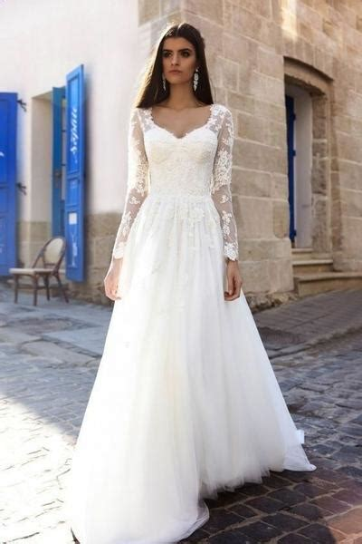 lace long sleeves wedding dress  spring style