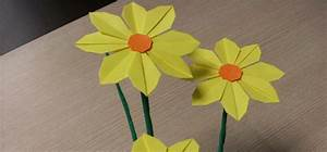 How to make pretty paper craft origami yellow flower step ...