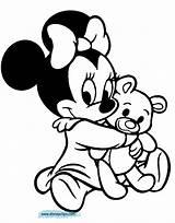 Minnie Coloring Bear Hugging Teddy Disney Babies Printable Daisy Disneyclips sketch template