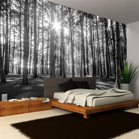 rainbow black white woodland forest mural photo giant