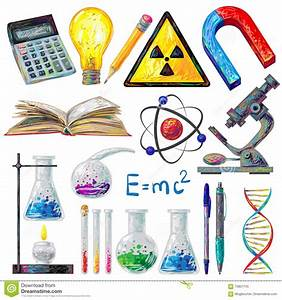 Scientific Objects And Formulas Icons Set Stock Vector