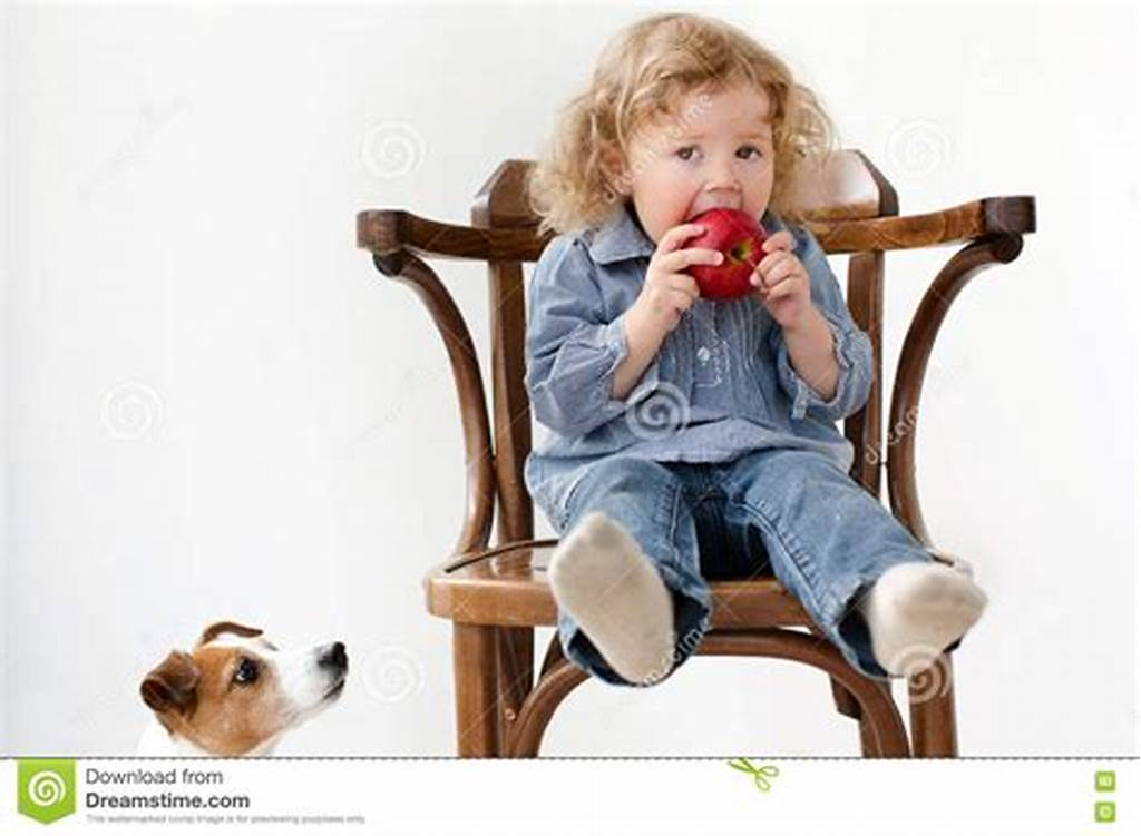 #Child #Eats #Apple #Little #Dog #Looking #Isolated #Stock #Image