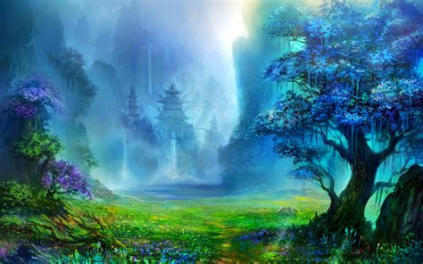 Artistic Nature Wallpaper by Pagoda Asian Architecture Trees Waterfall