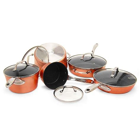 starfrit  rock nonstick  piece cookware set  copper bed bath   canada