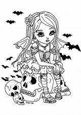 Coloring Vampire Halloween Adult Fille Colorare Colorear Skull Erwachsene Adults Jolie Malbuch Adultos Fur Adulti Disegni Sitting Coloriage Dessin Justcolor sketch template